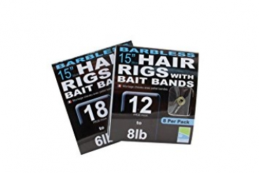 Preston Barbless Hair Rigs with Bait Bands 38cm